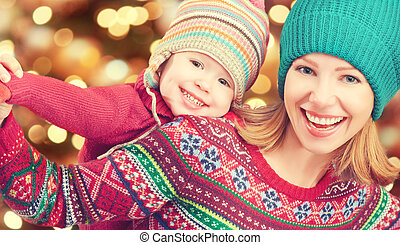 わずかしか, 娘, 冬, 家族, 遊び, 母クリスマス, 幸せ