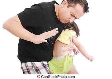 わずかしか, 娘, 彼女, 怒る, 父, ヒッティング, 赤ん坊