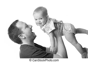 わずかしか, 娘, 父, 若い, 遊び, 幸せ