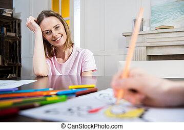 わずかしか, 娘, 見る, 母, 家, 図画, 幸せ