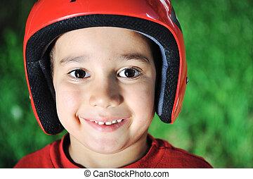 わずかしか, 子供, ∥で∥, biking, ヘルメット, 肖像画