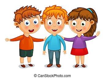 わずかしか, 子供, イラスト, ベクトル, 抱擁, 友人, 最も良く