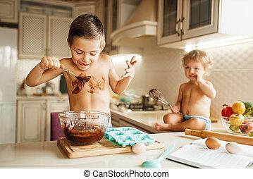 わずかしか, 子供, チョコレート, 好み, 溶かされる, 台所