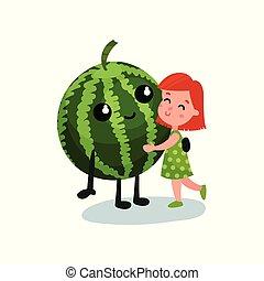 わずかしか, 子供, 健康, 甘い, 巨人, イラスト, 微笑, 食物, ベクトル, スイカ, 抱き合う, 特徴, 女の子, 漫画, 親友