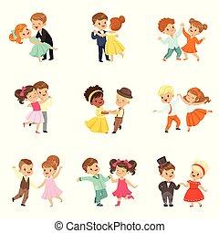 わずかしか, 子供, 古典である, ダンス, セット, 恋人, 現代 ダンス, ベクトル, 行なわれた, 背景, イラスト, 白, 子供