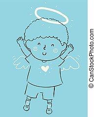 わずかしか, 子供, 天使, イラスト, 男の子