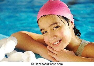 わずかしか, 子供, 女の子, ある, 水泳, 上に, プール