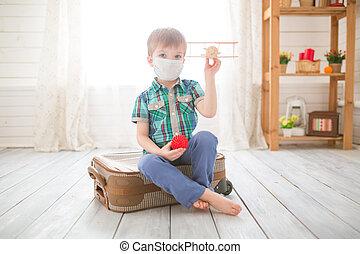 わずかしか, 子供, 家, 夢, 検疫, かわいい, traveling., 男の子