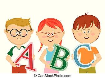 わずかしか, 子供, 手紙, abc, 保有物, グループ
