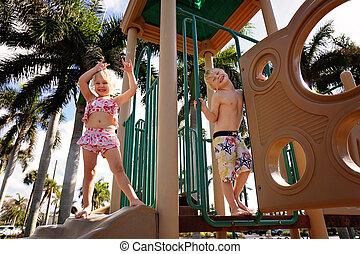 わずかしか, 子供, 運動場, 浜, 遊び, 幸せ