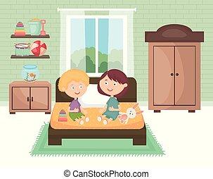 わずかしか, 子供 部屋, 恋人, おもちゃ, 遊び