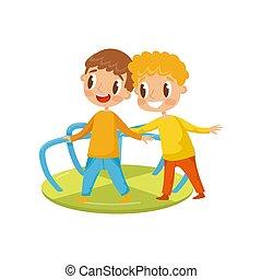 わずかしか, 子供, 陽気, ラウンド, イラスト, 男の子, ベクトル, 運動場, 背景, 行きなさい, 白, 遊び