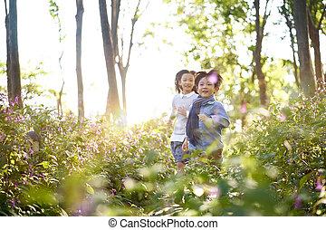 わずかしか, 子供, 2, フィールド, 動くこと, 花, アジア人