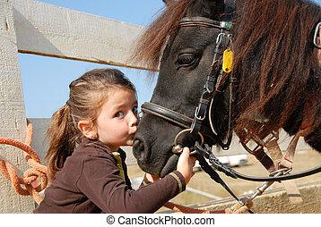 わずかしか, 子馬, 女の子, 彼女