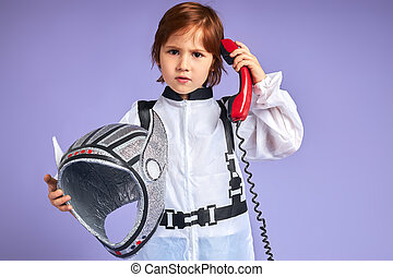 わずかしか, 宇宙人, 話し, 男の子, スーツ, かわいい, 電話, landline
