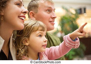 わずかしか, 家族, 指すこと, 手, 指, 前方へ, 女の子