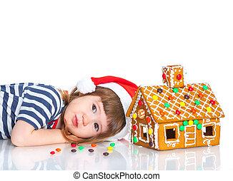 わずかしか, 家, サンタ, gingerbread, 女の子, 帽子
