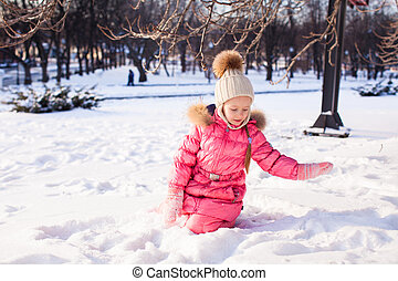 わずかしか, 屋外, 冬, 公園, 女の子, 愛らしい, 日