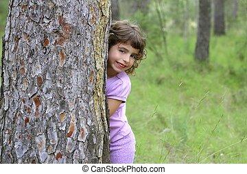わずかしか, 屋外, hide, 木, 公園, 緑, トランク, 女の子