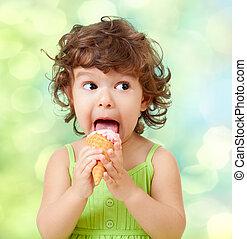 わずかしか, 巻き毛, 女の子, ∥で∥, アイスクリーム, 上に, カラフルである, 背景