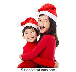 わずかしか, 幸せ, 女の子, 帽子, クリスマス, もう1(つ・人), 抱擁, 寄付