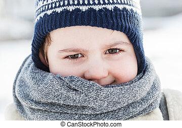 わずかしか, 幸せ, winter., 男の子, 肖像画, 子供