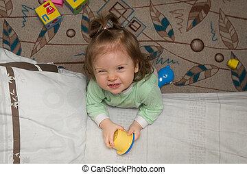 わずかしか, 床, おもちゃ, 女の子, home., 遊び
