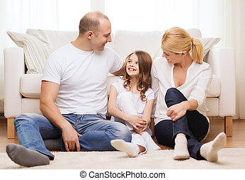 わずかしか, 床, モデル, 親, 家, 女の子