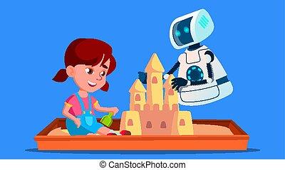 わずかしか, 建造する, 隔離された, イラスト, ロボット, 砂場, vector., 子供, 城, 砂