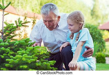 わずかしか, 彼の, 一緒に, 祖父, 孫, 楽しみ, ブロンド, 持つこと