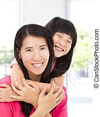 わずかしか, 彼女, アジア人, 母, 女の子, 幸せ