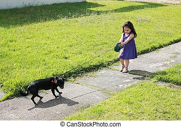 わずかしか, 彼女, 公園, 犬, 女の子, 悩み, 持つこと