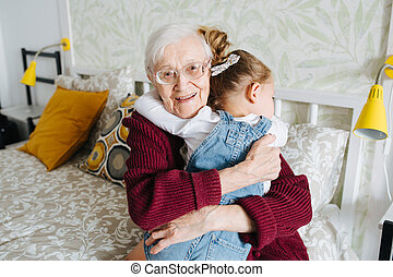 わずかしか, 彼女, 出費, 祖母, moments., 偉人, 一緒に, 時間, 女の子, 品質, 幸せ