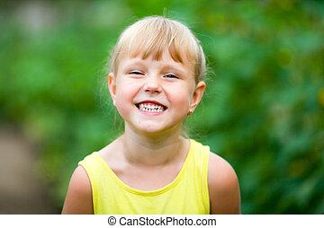 わずかしか, 彼女, 提示, 笑い, 肖像画, 女の子, teeth.