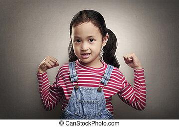 わずかしか, 彼女, 提示, 魅力的, 女の子, 筋肉, アジア人