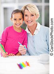 わずかしか, 彼女, 祖母, 家, 女の子, 図画