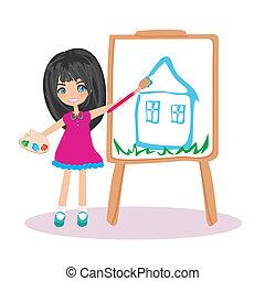 わずかしか, 彼女, 芸術家, 家, 大きい, ペーパー, 女の子, 絵, 夢