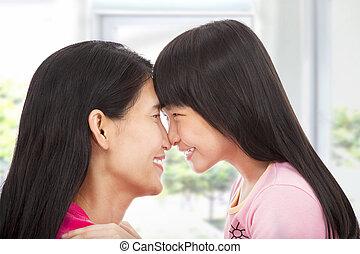 わずかしか, 彼女, 見る, 母, 女の子, 幸せ