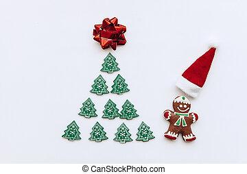わずかしか, 彼, 木製である, claus, 木, 木, 次に, 他, ショウガ, santa, hat., 小さい, 近くに, クリスマス, 赤, 人