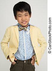 わずかしか, 微笑, スーツ, 男の子, 顔, 型, アジア人