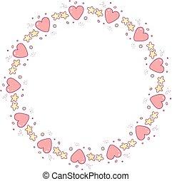 わずかしか, 心, 花輪, 微片, ベクトル, 星, 漫画
