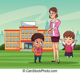 わずかしか, 恋人, 学校教師, 生徒, 子供, 屋外