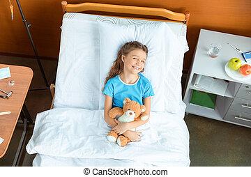 わずかしか, 患者, テディ, 上, ベッド, 熊, 病院, あること, 光景