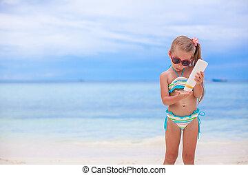わずかしか, 手掛かり, 水着, 日焼け, びん, 女の子, ローション, 愛らしい