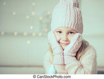 わずかしか, 手袋, かなり, 肖像画, 女の子, 帽子
