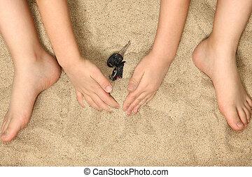 わずかしか, 手, フィート, 砂