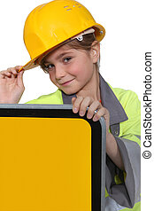 わずかしか, 服を着せられる, 労働者, 女の子, 側, 道