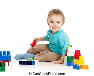 わずかしか, 朗らかである, 子供, ∥で∥, コンストラクションセット, 上に, 白い背景