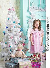 わずかしか, 木, christmas:, の上, 待つこと, 女の子, クリスマス, 服