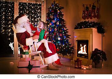 わずかしか, 木, santa, 下に, 女の子, クリスマス